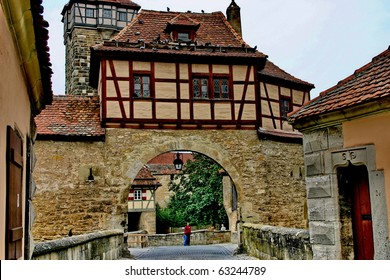 The stronghold gate in the medieval town Rothenburg ob der Tauber, Germany