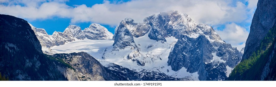 strongly karstic Austrian mountain Dachstein. Wide Panorama.