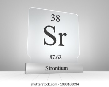 Strontium symbol on modern glass and metal icon 3D render