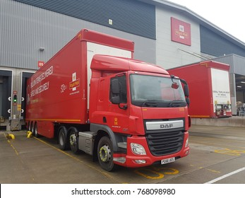 STROOD, KENT, UK- 03 DECEMBER 2017: Royal mail HGV loading at Medway depot