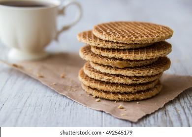 Stroopwafels / Caramel Dutch Waffles with tea or coffee.