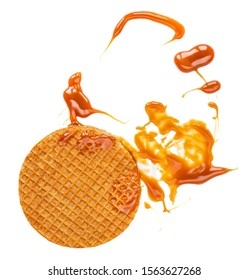 Stroopwafels or Dutch Waffles with caramel  isolated on a white background close up.