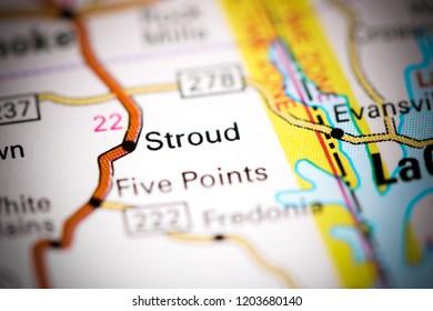 Stroud. Alabama. USA on a map