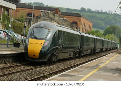 STROUD, ENGLAND - April 23, 2019: Great Western Railway engine arriving at the Stroud train station, cotswold area.