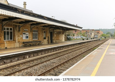 STROUD, ENGLAND - April 23, 2019: empty platforms at the Great Western Railway station in the city of Stroud, cotswolds area.