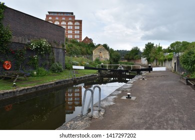 Stroud, Gloucestershire / England - May 28th 2019: a lock on the Thames and Severn canal in Stroud.