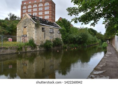 Stroud, Gloucestershire / England - May 28th 2019: A preserved section of the Thames and Severn Canal in Stroud.