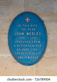 STROUD, GLOUCESTERSHIRE, UK - FEBRUARY 13:  Plaque commemorating John Wesley in Stroud. Taken on 13 February 2017