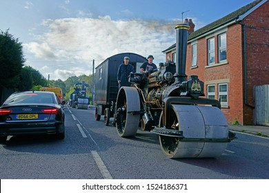 Stroud, Gloucestershire, UK, October 6th 2019, vintage Steam Rollers trundling along the highway into the town of Stroud in the heart of the Cotswolds.