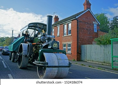 Stroud, Gloucestershire, UK, October 6th 2019, single Steam Roller trundling along the highway into the Town of Stroud in the heart of the Cotswolds.