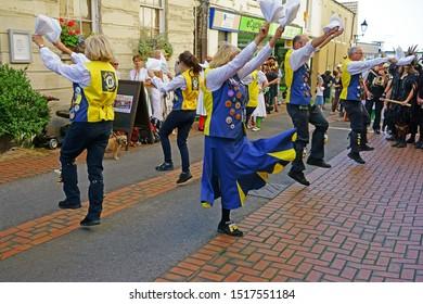 Stroud, Gloucestershire, UK, September 21st, 2019, the Full Moon Morris dancers entertain the happy spectators.