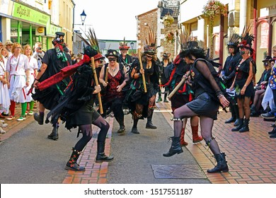 Stroud, Gloucestershire, UK, September 21st, 2019, Styx of Stroud Border Morris dancing to the music in their traditional costumes.