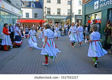 Stroud, Gloucestershire, UK, September 21st, 2019, lady Morris Dancers entertaining the crowds of shoppers in the centre of town.