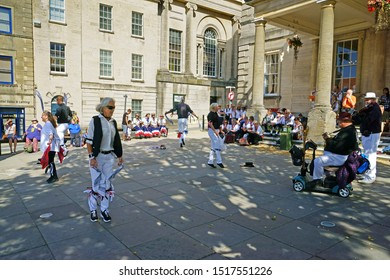 Stroud, Gloucestershire, UK, September 21st, 2019, Morris dancers performing outside the Subscription rooms.