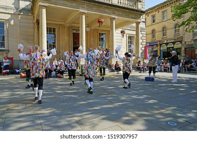 Stroud, Gloucestershire, UK, September 21st, 2019, Gloucestershire Morris dancers and traditional costumes performing outside the Subscription rooms.