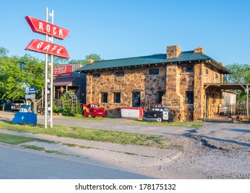 STROUD, OK/USA - MAY 7: Historic Rock Cafe and neon sign, on Route 66, on May 7, 2013, in Stroud, Oklahoma. National Register of Historic Places