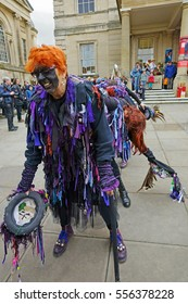 Stroud Wassail, A Winter Community Merry making Festival, The Cotswolds, Gloucestershire, 14th January 2017, Bakanalia Border Morris taking a bow after their dance outside the Subscription Rooms,
