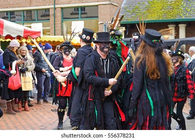 Stroud Wassail, A Winter Community Merry making Festival, The Cotswolds, Gloucestershire, 14th January 2017, Styx of Stroud Border Morris dancing to the beat of the drummer in John Street, Stroud