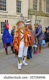 Stroud Wassail, A Winter Community Merry making Festival, The Cotswolds, Gloucestershire, 14th January 2017, The colourful costume of The Gloucestershire Morris Dancers Mari Lwyd.