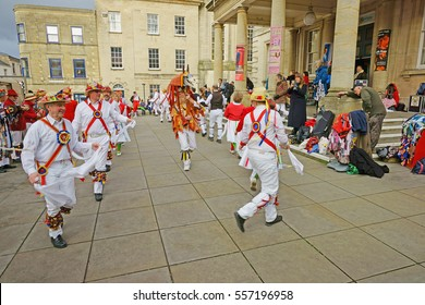 Stroud Wassail, A Winter Community Merry making Festival, The Cotswolds, Gloucestershire, 14th January 2017, The Gloucestershire Morris Men dancing outside the Subscription Rooms, with Mari Lwyd.