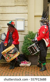 Stroud Wassail, A Winter Community Merry making Festival, The Cotswolds, Gloucestershire, 14th January 2017, The drummers beating time for Styx of Stroud Border Morris dancers in John Street, Stroud
