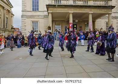 Stroud Wassail, A Winter Community Merry making Festival, The Cotswolds, Gloucestershire, 14th January 2017, Bakanalia Border Morris dancing to the tune of their musicians, Subscription Rooms, Stroud