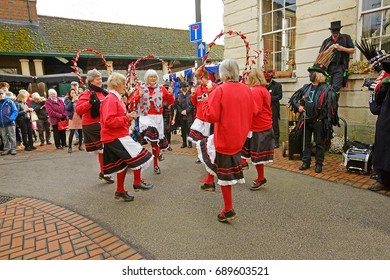 Stroud Wassail, A Winter Community Merry making Festival, The Cotswolds, Gloucestershire, 14th January 2017, Gloucestershire Female Morris dancers dancing in John Street, Stroud