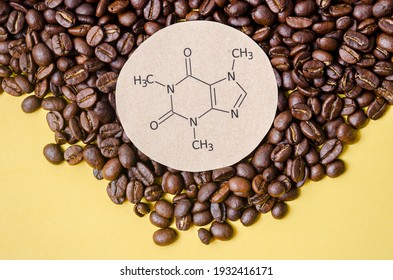 Structural chemical formula of caffeine molecule with roasted coffee beans. Caffeine is a central nervous system stimulant, psychoactive drug molecule. - Shutterstock ID 1932416171
