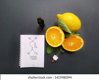 Structural chemical formula of linalool with fresh citrus fruit and cosmetic glass bottle. Linalool is an aromatic terpene, major component of essential oils. It is used in floral fragrances.