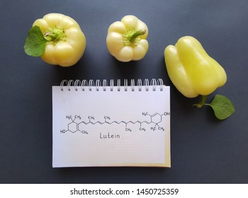 Structural chemical formula of lutein molecule with yellow bell peppers. Lutein is a yellow coloured pigment, a xanthophyll, naturally present in high quantities in many vegetables.