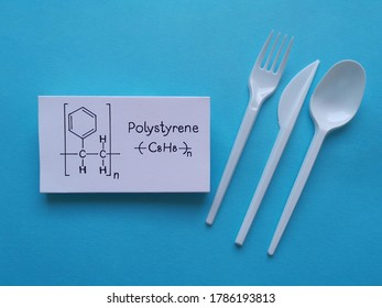 Structural chemical formula of polystyrene molecule with disposable eating cutlery. Polystyrene is a polymer produced by the polymerization of styrene, it is employed in the food-service industry.