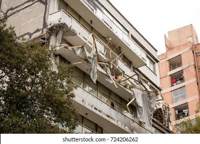 Structural damage to a multi family building caused by a 7.1 magnitude earthquake that struck central Mexico on September 19th, 2017