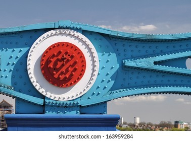 Structural detail of Tower Bridge, over the River Thames, London, UK