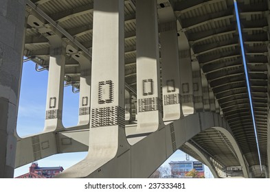 Structural elements of highway bridge - view from below.