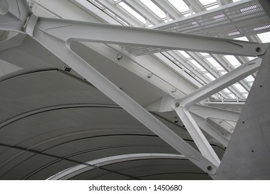 structural steel in airport terminal