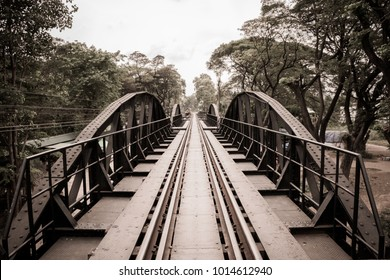 Structural Steel Bridge of Railways across the River Kwai in Kanchanaburi Thailand. (Sepia Tone)