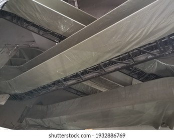 Structural steel roof structures installed in the building