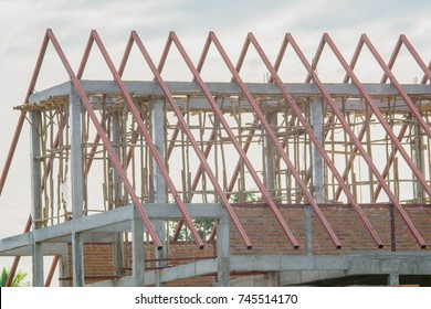 Structural steel roof using steel frames of building residential construction.