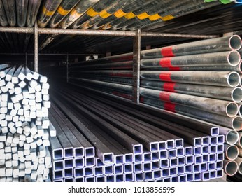 Structural steel in warehouse.