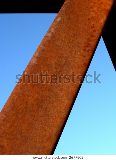 Structural support steel beam in bridge construction