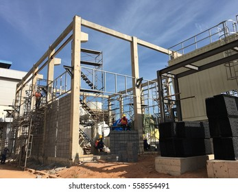 structure of building on blue sky cloud background