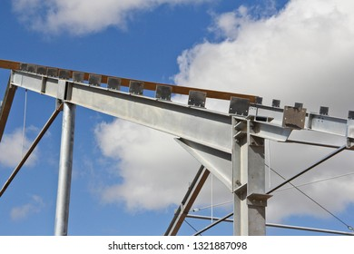 The structure of the building. Steel construction on the sky background. Electroplate steel metal. Zinc metal coating to protect against corrosion.
