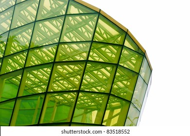 A structure built by yellow glass panel