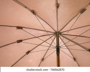 structure of the canvas umbrella ,the Brown texture background