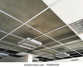 structure of ceiling suspension, installation of gypsum plasterboard and light.
