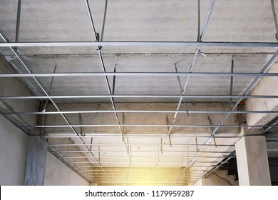 Structure of ceiling T-bar in building.