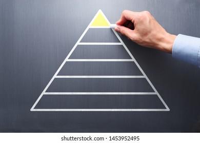 Structure of company organization. Businessman drawing pyramid on chalkboard.