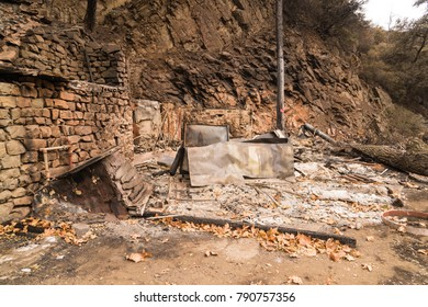 Structure destroyed by the Thomas Fire along Highway 33 in Ojai, California