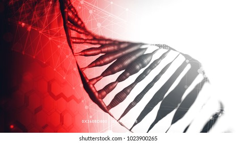 The structure of DNA closeup. Abstract background on a scientific thematics. 3d render illustration