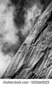 Structure of El Capitan rock surface in Black and White with sky